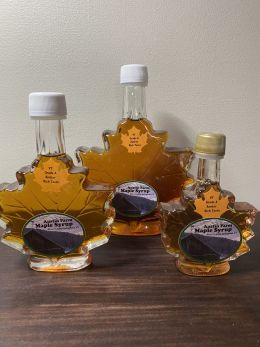 Vermont Maple Syrup in glass Maple Leaf