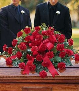 Red Regards Casket Spray