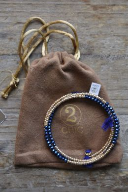 Light Sapphire Beaded Wrap Bracelet in Pouch