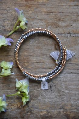 Bronze Glass Beaded Wrap Bracelet in Pouch