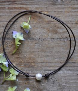 Leather and Freshwater Pearl Adjustable Necklace