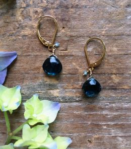 14k Gold Filled Earrings with Apatite, London Blue Topaz on Lever Back
