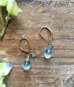 14k Gold Filled Earrings with Apatite and Blue Topaz on Lever Back
