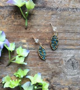 14k Gold Filled Earrings with Apatite, Blue Topaz, Mystic Green Quartz on French Hook