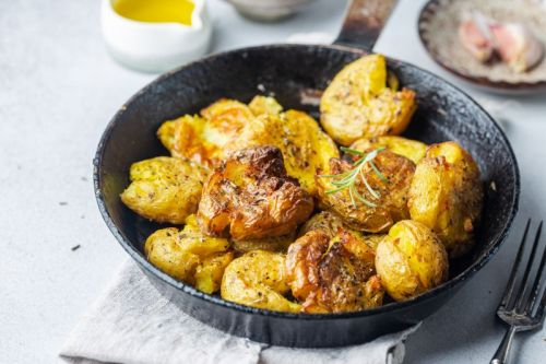 Cheddar Ale Smashed Potatoes